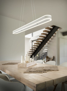 Villa with open dining room, white kitchen and stairs